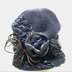 Cloche hat cap with ribbon flowers navy blue